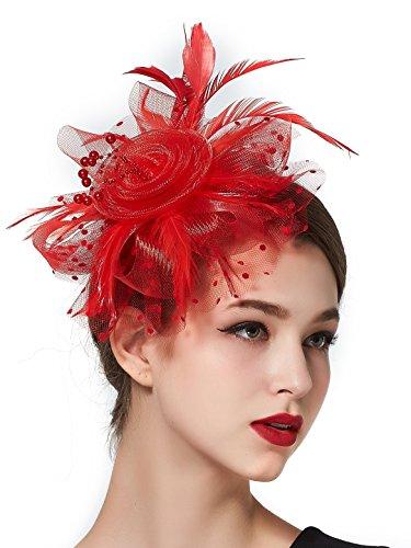 Zivyes Fascinators For Women Headband Feather Flower Tea Party Derby Top Hat Headwear Wedding Headpiece