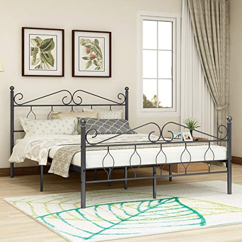 (Victorian Vintage Style Platform Metal Bed Frame Foundation Headboard Footboard Heavy Duty Steel Slabs Queen Full Twin Antique Black/Silver Finish 730 (Queen))