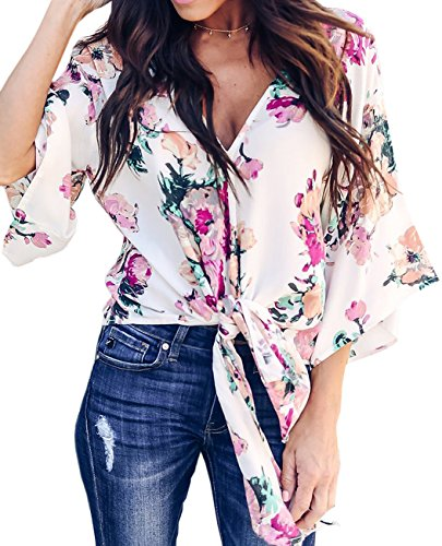 Tie Sleeve Short Floral - CICIDES Women Summer Sexy V Neck Casual Floral Printed Short Sleeve Tie Front Flare Loose Flowy Tops Chiffon Blouses Black US8-10 Medium