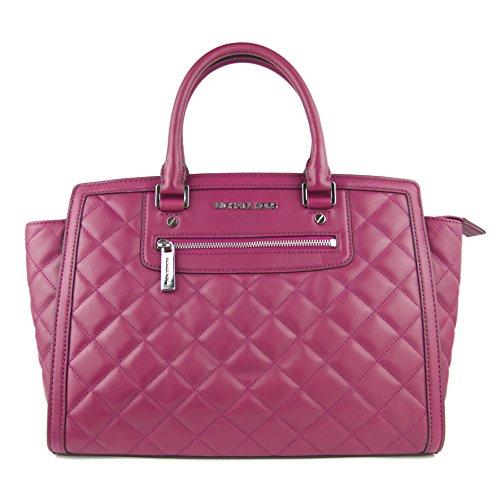 Michael Kors Selma Zip Quilt Large Tz Satchel Deep Pink Leather