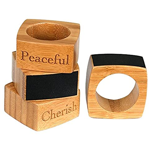 G.U.S. Bamboo Napkin Rings with Embossing & Chalkboard Labels - Rounded Square, Set of 4 - Includes A Chalk/Charcoal - Ceramic Tortoise Vases