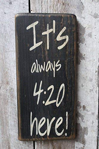 MarthaFox 14x30cm Its Always 420 Here Wood Sign Weed Dispensary Decor 420 Cannabis Decor Hippie Boho Decor Dorm Decor Funny Sign Party Room Decor 18 in CB 659473 WoodSign