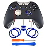 eXtremeRate Matte Chrome Blue Profile Switch Buttons Accent Rings Accessories Parts for Xbox One Elite Controller Pack of 2