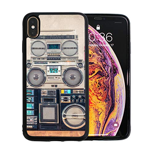 Battle Turntables - Old-Fashioned Gramophone Turntable iPhone Xs Max Case Screen Protector TPU Hard Cover with Thin Shockproof Bumper Protective Case for iPhone Xs Max 6.5 Inch