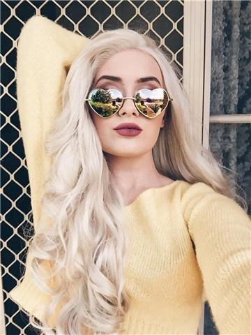 Imstyle Ash Blonde Lace Front Wigs Long Blonde Wigs For Women Wave Lace Front Wigs Blonde Synthetic Platinum Color Hair 26 Inch