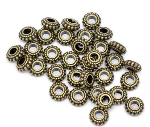 100pc Antiqued Bronze Wheel Spacer Beads 8x3mm Beading Supplies [Office Product]
