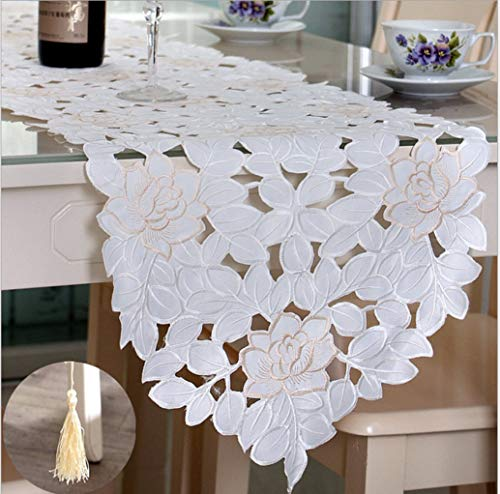 US-ROGEWIN Table Runner Embroidered Flowers Handmade Hollow Multi-Function Home Decorative Dust-Proof Cover Washable]()