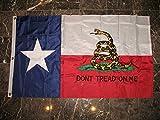 3×5 Texas Gadsden Culpeper Embroidered Sewn Solarmax Nylon Flag 3'x5′ Banner w/ clips For Sale