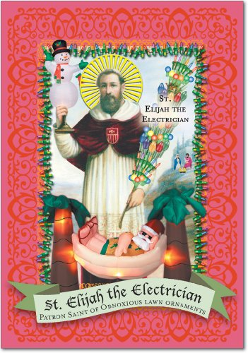 12 'St Elijah the Electrician' Boxed Christmas Cards with Envelopes 4.63 x 6.75 inch, Funny Church Holiday Notes, Religious Humor, Inappropriate Humor, Unique Christmas Stationery B1065