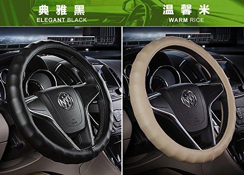 [해외]FMS 정품 가죽 자동차 핸들 커버 범용 자동차 내장 악세서리 ¨ Cbllack, 내구성, 통기성, 안티 슬립, 무취/FMS Genuine Leather Car Steering Wheel Cover Universal