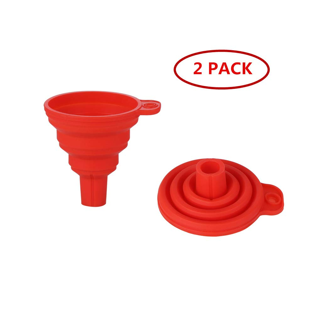 2 pack Silicone Foldable Funnel Set for Kitchen Liquid Transfer, collapsible, 100% BPA-Free