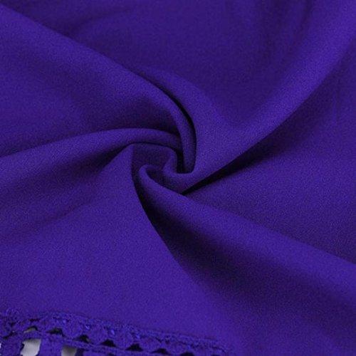 Xinantime Femmes L nbsp; Casual Manches en Chemise che Shirt Dentelle pour T Tops Chemise Femme Bleu Coton Blouse Fashion en Longues rwaxrt0pq