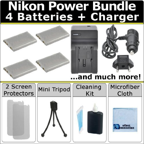 Complete Deluxe Starter Kit for Nikon Coolpix 3700 4200 P3 P4 S10 P80 P90 P100 P500 P510 P520 5200 5900 7900 P5000 P5100 P6000 Camera + 4 EN-EL5 Batteries + AC/DC Turbo Charger with Travel Adapter