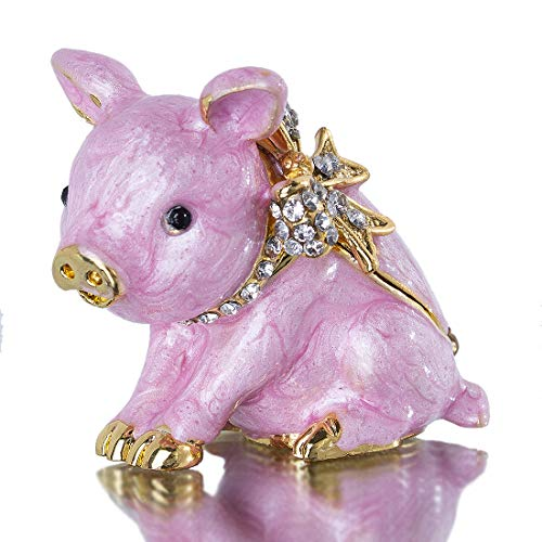 YU FENG Pink Piggy Animal Jewelry Trinket Box Hinged Collectible Figurines for Home Decor ()
