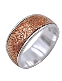 "Energy Stone ""MIRACLE FLOWER"" Red Copper Spinner on Silver Base Spinning Ring (Style SR51)"