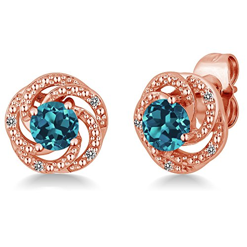 Gem Stone King 1.06 Ct London Blue Topaz White Diamond 18K Rose Gold Plated Silver Flower Design Earrings
