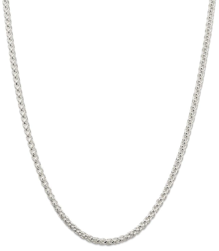 ICE CARATS 925 Sterling Silver 4mm Round Spiga Chain Necklace 18 Inch Wheat Fine Jewelry Gift Set For Women Heart