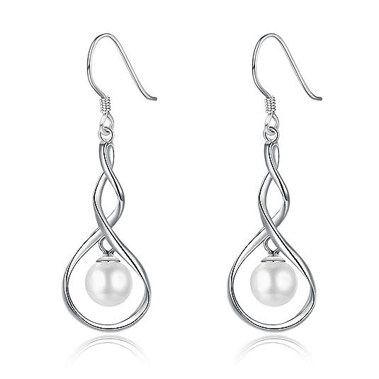 IminiJewelry Sterling Silver Elegant Pearl Dangle Drop Earrings for Women Girls Sensitive Ears Fashion Dangling