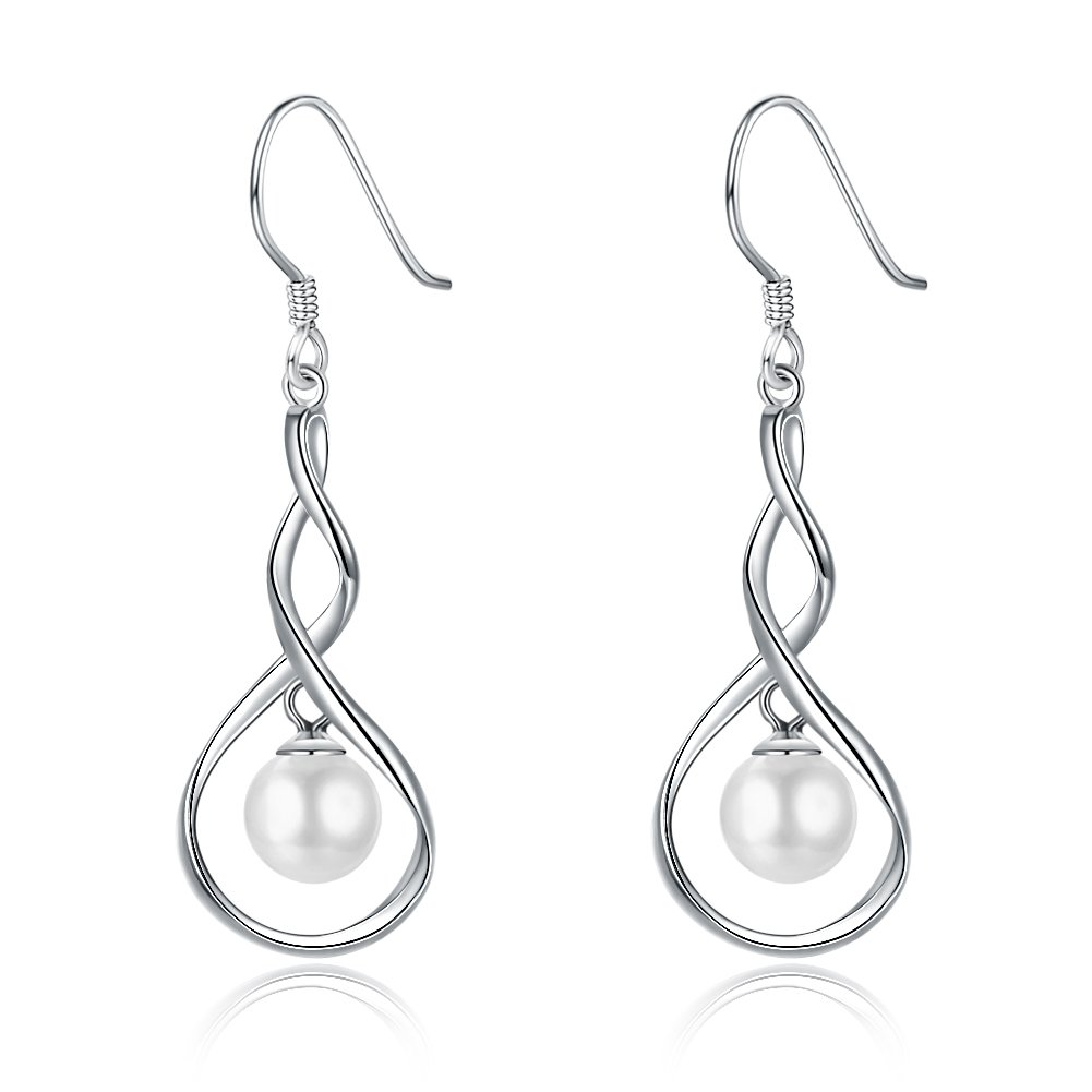 Dainty Pearl Infinity 925 Sterling Silver Dangle Earrings for Women Girls Wedding Fashion Bridesmaid Dangling Hypoallergenic (silver)