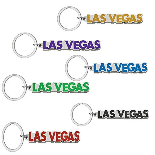 (Key Chain Embossed Las Vegas Souvenir Metal Keychain - Pack of 6 Assorted Colors)