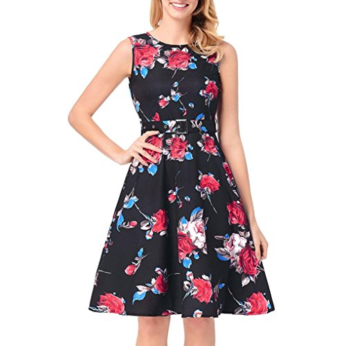 UFACE Damen Kleider Retro Rose Druck Kleid Robe Vintage Swing ...