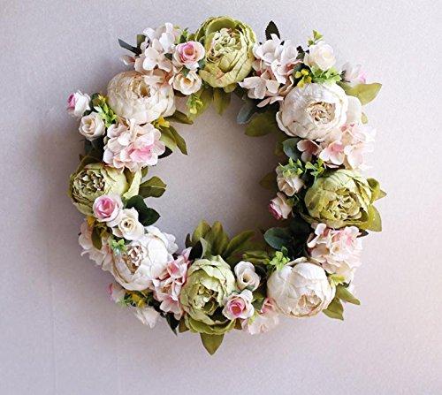 YJBear European Vintage Artificial Flower Spring Door Wreath Garland Handcrafted Peony Silk Flower Twig Front Door Wreath Display for Entryway Home Decor/Wedding/Festival,White (Bear Wreath Hanger)