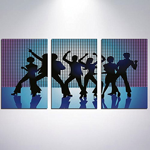 3 Panel Canvas Prints Wall Art for Home Decoration 70s Party Decorations Print On Canvas Giclee Artwork For Wall DecorSilhouettes of Couples Dancing in Night Club Energetic Classic-Aq