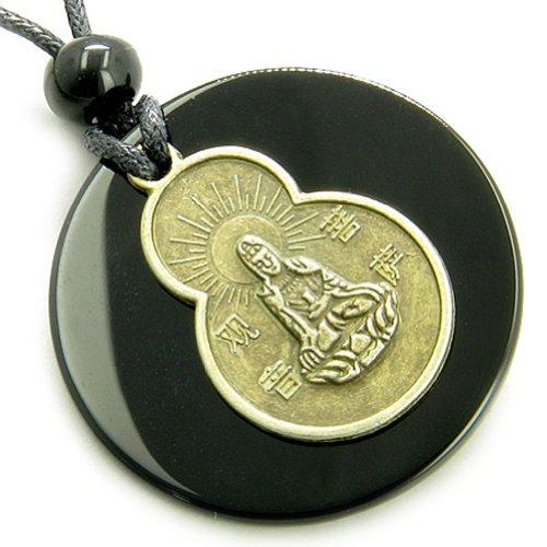 Black Agate Kwan Yin Quan Magic Circle Spirit Talisman Pendant Necklace