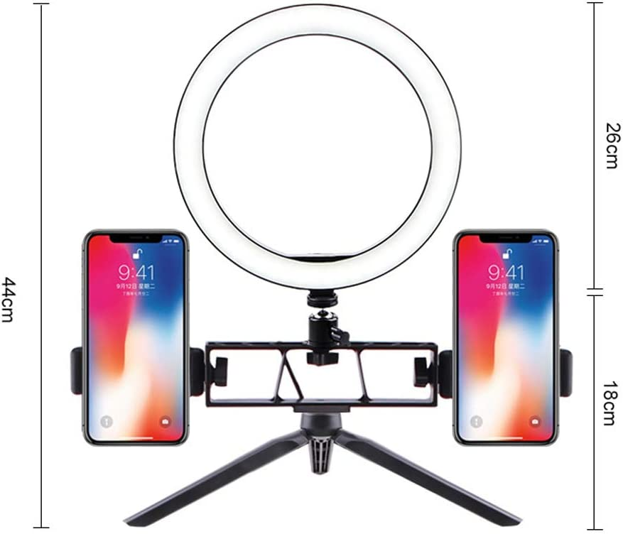 Desk LED Camera Light with Tripod Stand and Dual Cell Phone Holders for Makeup Live Stream YouTube Video,26CM Xgxyklo LED Ring Light