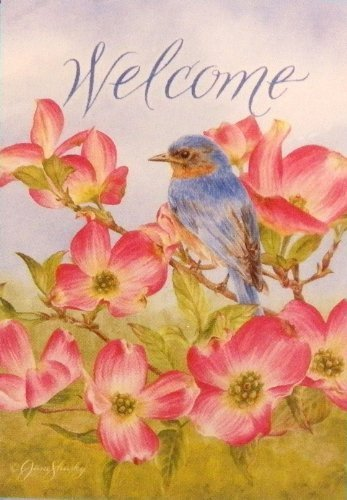 Welcome Bird on Branch with Flowers Large Applique Yard Flag