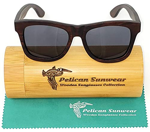 Wood Sunglasses - Polarized Lenses - Handmade Exotic Wooden Vintage Style Frame (brown, grey) (Wood For Time Sunglasses)