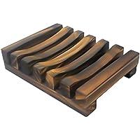 YTCWR Caja de jabón/jabonera de Madera Natural carbonizado