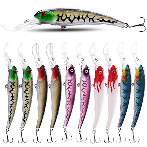 Sougayilang Hard Fishing Lures Deep Diving Minnow Bass Crankbaits with Large Fish Tongue,Treble Hook Life-Like Swimming Trout Fishing Tackle for Bass Fishing Pack of 10PCS
