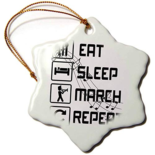 3dRose Macdonald Creative Studios – Music - Eat Sleep March Repeat Funny Marching Band Design for Any Musician. - 3 inch Snowflake Porcelain Ornament (ORN_295429_1) (Porcelain Band Gold)