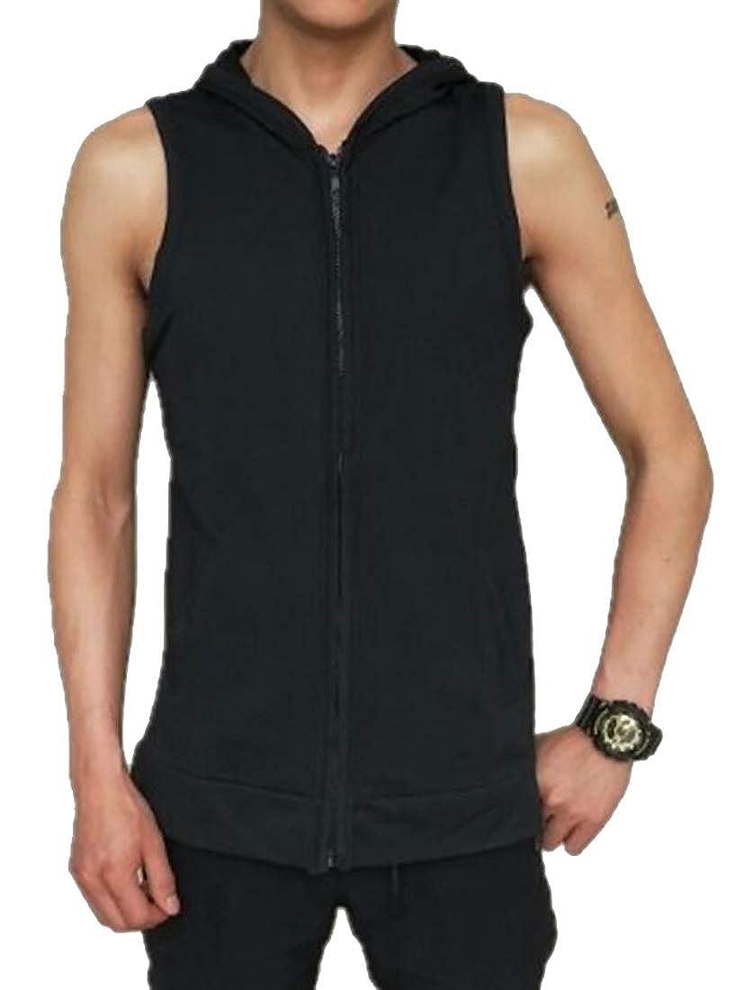 Smeiling Mens Zipper Sport Hoodies Waistcoat Hoodies Workout Sleeveless Vest