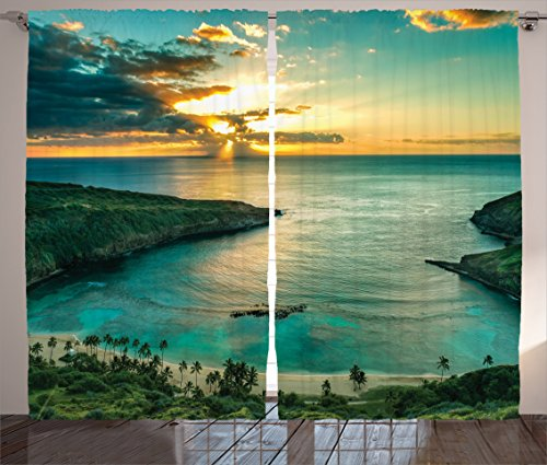 "Ambesonne Hawaiian Curtains, Sunrise Over Hanauma Bay Oahu Hawaii Sunbeams Through Clouds Shoreline, Living Room Bedroom Window Drapes 2 Panel Set, 108"" X 84"", Green Orange from Ambesonne"
