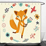 Interestlee Shower Curtain Cartoon Cute Animal with Floral Flowers Leaves Fish Detailed Frame Eggshell Coral Almond Green Peach