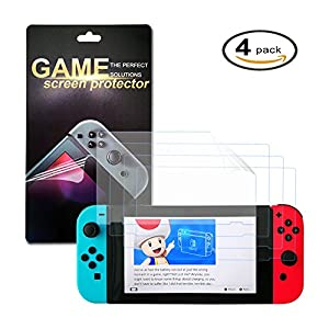 FastSnail Nintendo Switch Screen Protector, Pack of 4 HD Flim Screen Protectors for Nintendo Switch, Anti-Bubble Film