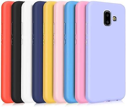 TVVT 9X Coque pour Samsung Galaxy J6 Plus, Étui Couleur Unie Silicone Ultra Mince Lumière Flexible Souple TPU Housse - Noir, Bleu Foncé, Jaune, Violet ...