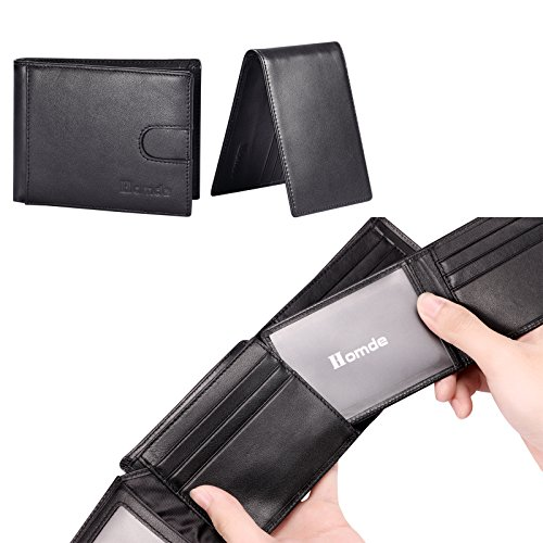 Homde 2 IN 1 Wallet Set Genuine Leather Slim Front Pocket with ID Window Card Slots and RFID Blocking for man wallets (Black)