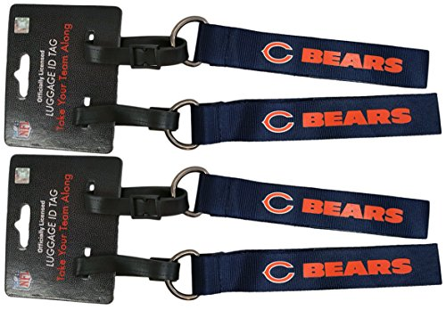 Set of 4 Officially Licensed NFL Luggage Tag KeyChains - Perfect use for Keychain or Mini Lanyard! Represent Your Favorite Team With Style! (Chicago Bears 2 Pack) (Bears Luggage Tag)