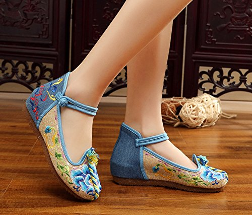 Avacostume Mujeres Embroidery Color Knot Canvas Casual Mary Jane Zapatos Azul