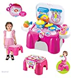 WolVol Electric Take Along Kids Kitchen Cooking Set Toy with Lights & Sounds, Folds into Stepstool (Pink)