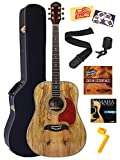 Oscar Schmidt OG2SMG Spalted Maple Acoustic Guitar - Gold Tuners Bundle with Hard Case, Tuner, Strings, String Winder, Strap, Picks, Instructional DVD, Polishing Cloth