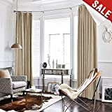 Half Blackout Velvet Curtains 108 inches Window Drapes Bedroom, Thermal Insulated Curtain Panels Rod Pocket (1 Panel, Beige)