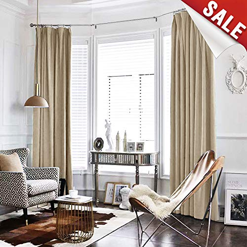 Velvet Curtain Beige Living Room Rod Pocket Window Curtain Panel 84 inch Long Bedroom Thermal 1 Panel