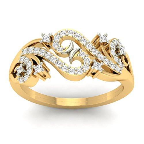 18K Or jaune 0,28CT TW Round-cut-diamond (IJ | SI) en diamant