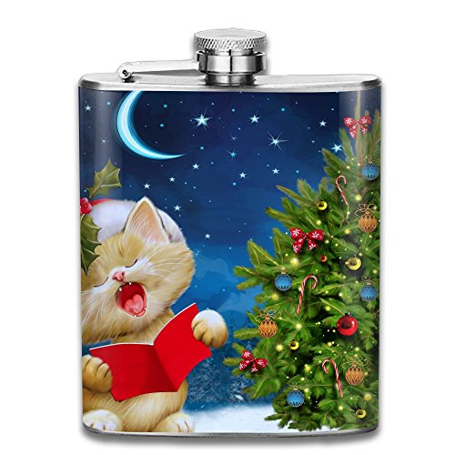 Bacchus-G Cute Cat Singing For Christmas Unisex Hip Flask For Liquor Stainless Steel Bottle Alcohol 7oz