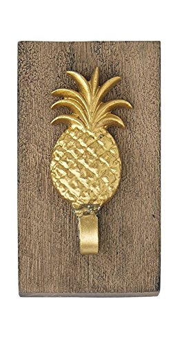 Hawaiian Pineapple Decorative Wood Plaque Hook - Brown