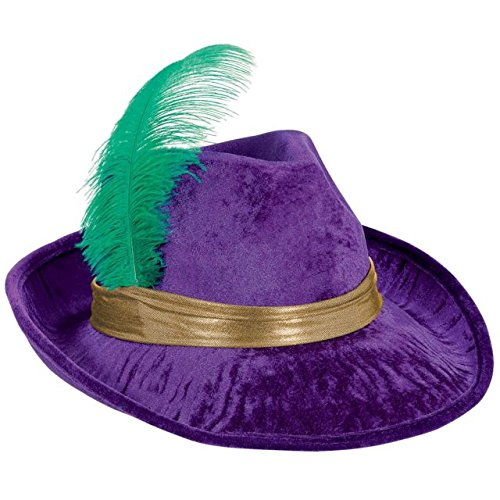 Amscan Velvet Fedora Hat Mardi Gras Costume Party Headwear, Purple, 13.5 x 11
